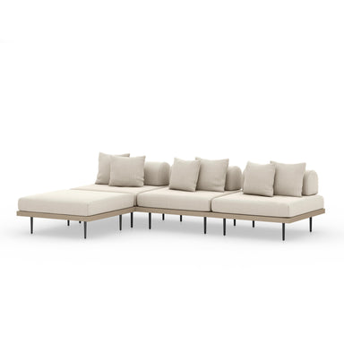 Yara 3 Pc Sectional W/ Ottoman-Brown/Sand-FURNITURE-Maker & Moss