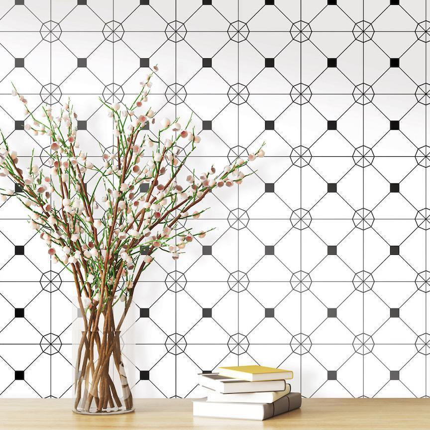 Zodiac Black & White Peel and Stick Wallpaper-LIFESTYLE-Maker & Moss