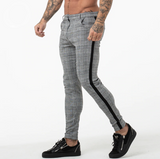 Mens Chinos Slim Fit Skinny Pants Dark Grey