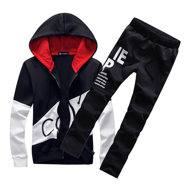 Men Warm Hooded Tracksuit
