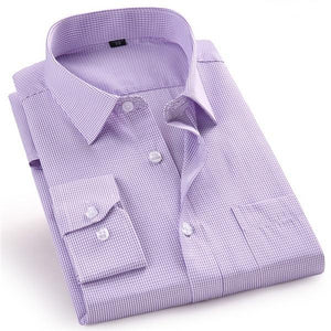 Business Casual Long Sleeved Shirt Plaid Purple