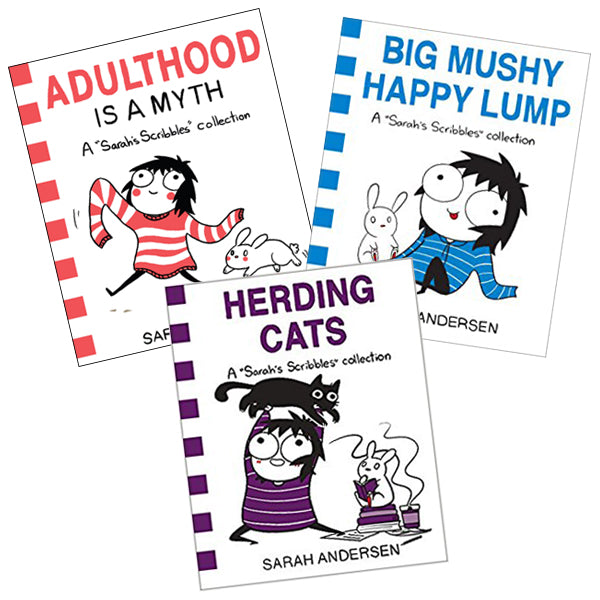 """Adulthood Is A Myth, Big Mushy Happy Lump, and Herding Cats"" Sarah's Scribbles Book Collection SIGNED"