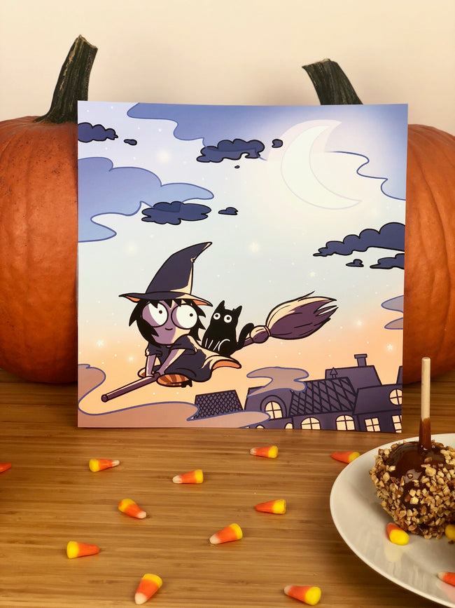 Sarah and Cat Halloween Print