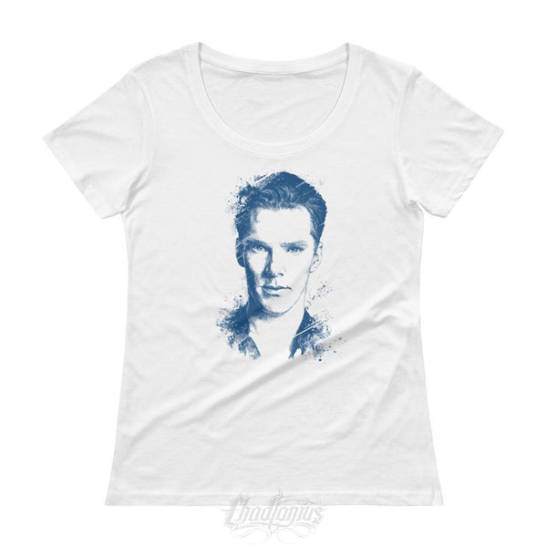 Benedict Cumberbatch T-Shirt - Ladies Scoopneck White / Xs Womens Shirts Chadlonius