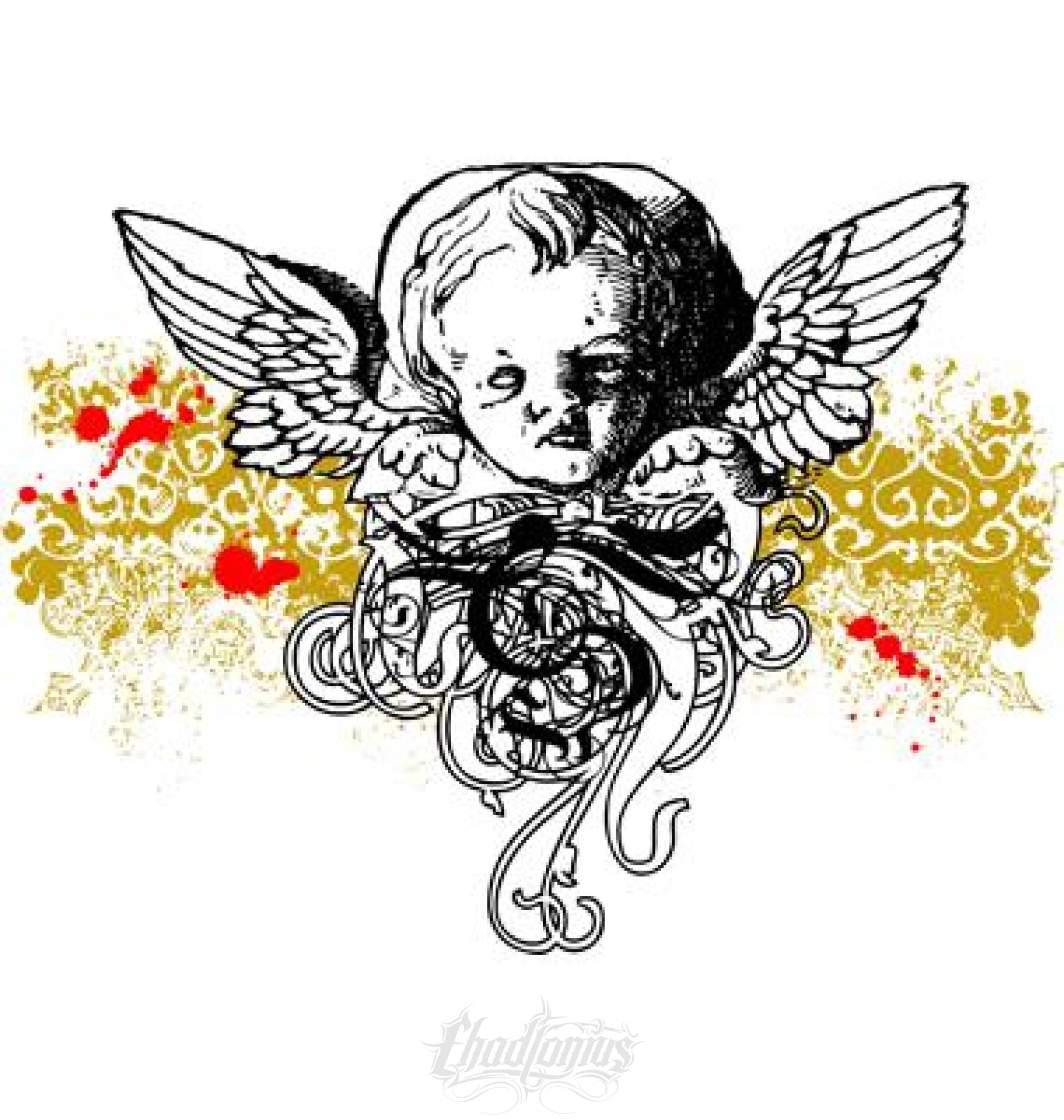 Cherub Vector With Background Elements Vector Chadlonius
