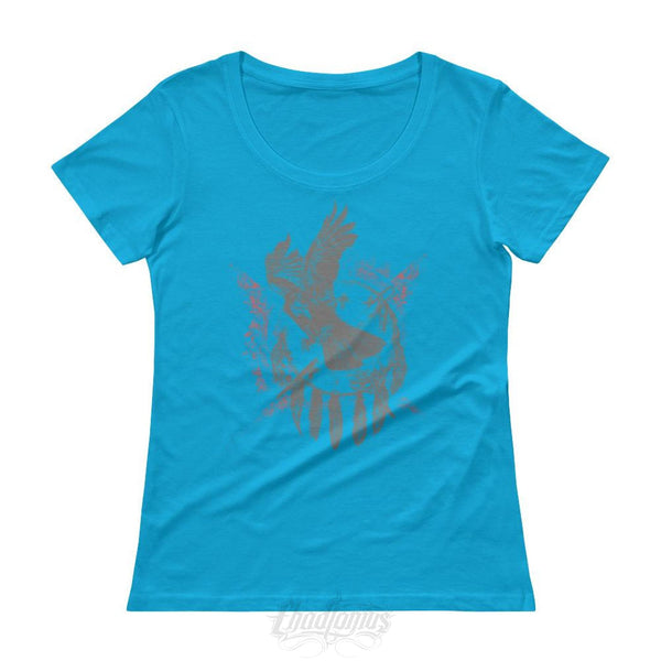 The Raven - Native American Inspired Ladies T-Shirt Caribbean Blue / Xs Chadlonius