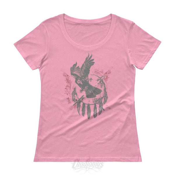 The Raven - Native American Inspired Ladies T-Shirt Charitypink / Xs Chadlonius