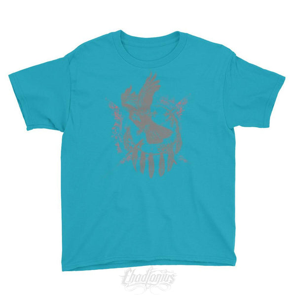 The Raven - Native American Inspired Youth T-Shirt Caribbean Blue / Xs Chadlonius