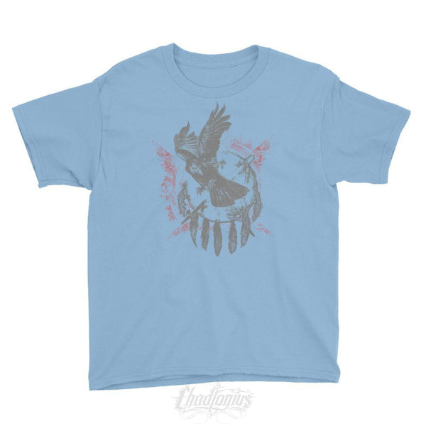 The Raven - Native American Inspired Youth T-Shirt Light Blue / Xs Chadlonius