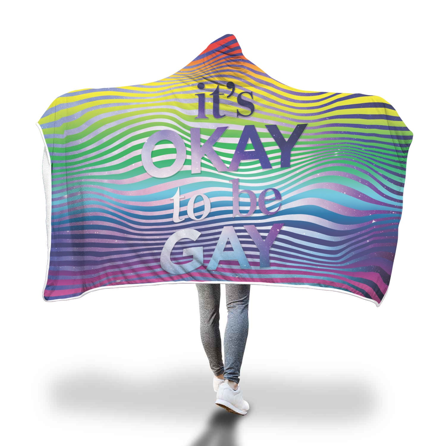 Rainbow Galaxy It's Okay Hooded Blanket