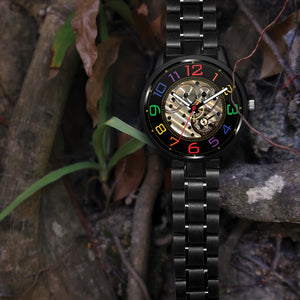 Custom Printed Mechanical-Looking Rainbow Watch