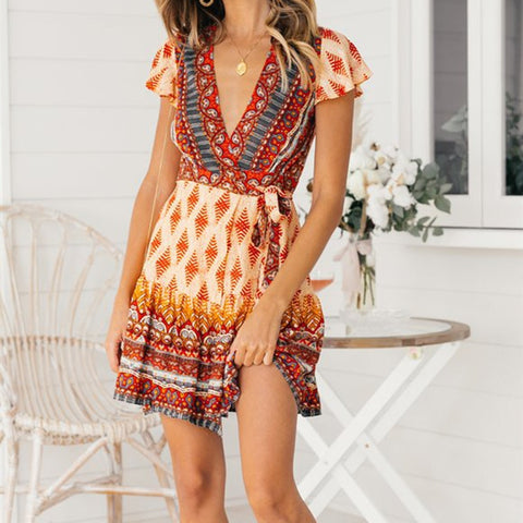 Summer Vintage Print Sexy V Neck Fashion Dress