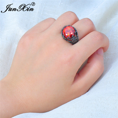 Big Round Red Ring Fashion Black Gold Ring 2