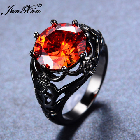 Big Round Red Ring Fashion Black Gold Ring 1