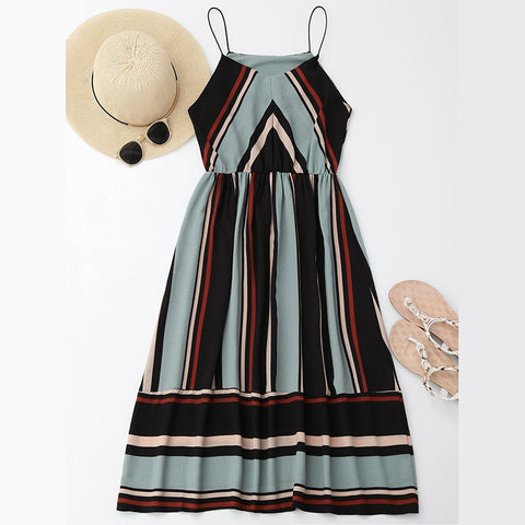 Casual Striped Beach Dress