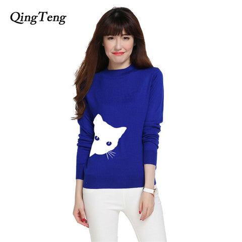 Cute Cat Look Outside Printing Cashmere Sweater