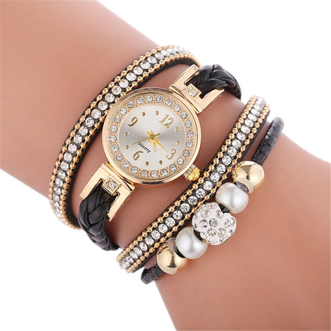 Ladies Watch Casual Round Analog Quartz Wrist Bracelet