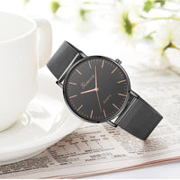 Modern Fashion Black Quartz Watch Stainless Steel