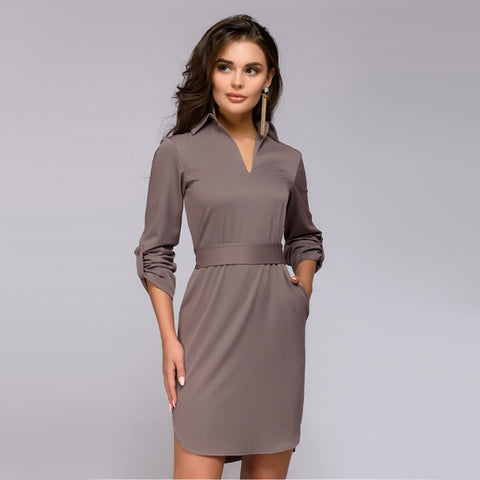 Office Lady Straight V-neck Dress