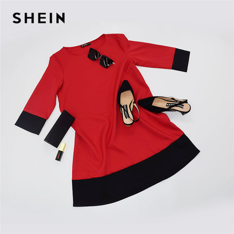 Red Contrast Trim Tunic Dress Workwear