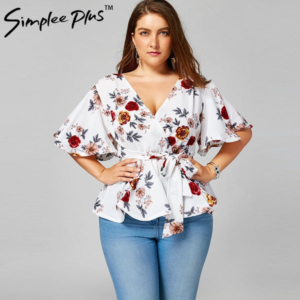 Flower Printed Plus Size Blouse