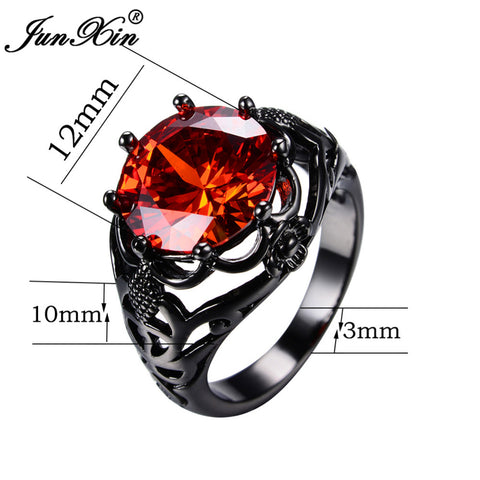 Big Round Red Ring Fashion Black Gold Ring 5