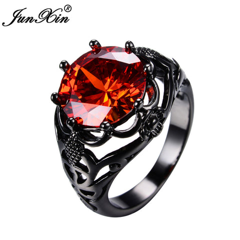 Big Round Red Ring Fashion Black Gold Ring 3