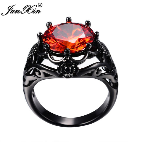 Big Round Red Ring Fashion Black Gold Ring 4