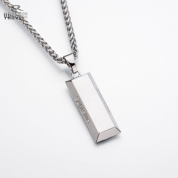 Gold Cube Bar Necklace