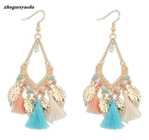 Coloful Beads Leaf Tassel Dangle Earrings