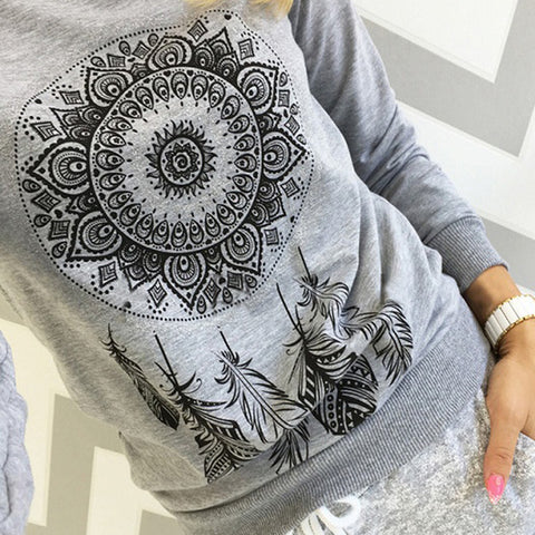 Long Sleeve Cotton Feathers Blouses