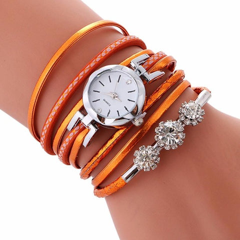 Rhinestone Leather Bracelet Watch