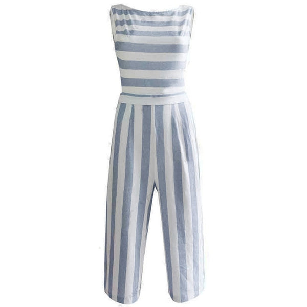 Sleeveless Strip Casual Jumpsuit