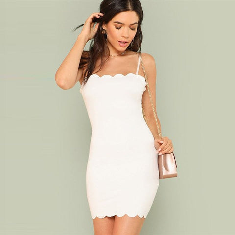Form Fitting Scalloped Mini White Dress