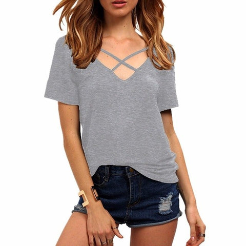 Sexy Lace Up V Neck Shirt