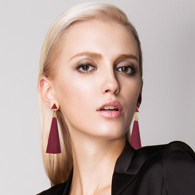 Natural Triangle Stone Long Tassel Earrings