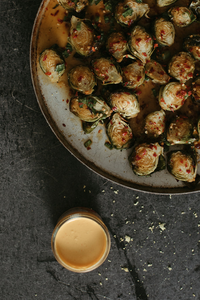 ZUBI'S Queso Glazed Baked Brussels Sprouts