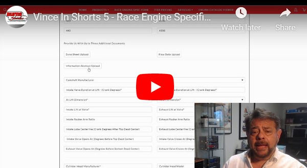 Race Engine Specification Form - Vince In Shorts 5