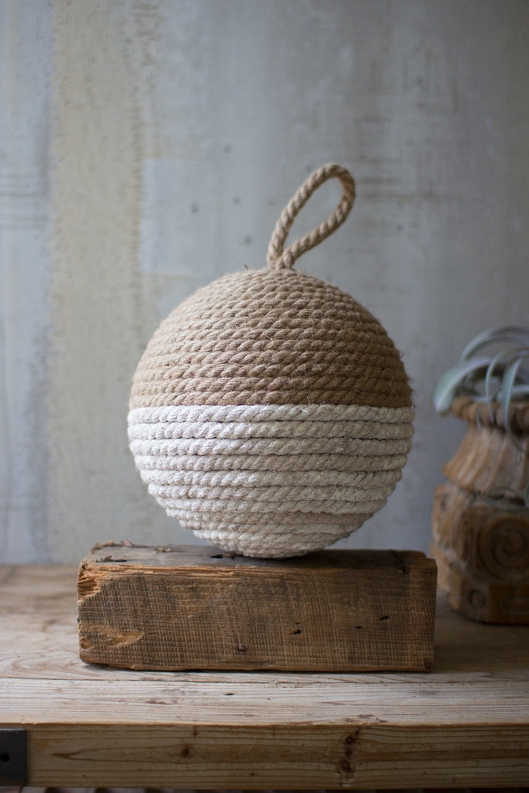 Jute Rope Sphere - Natural & White