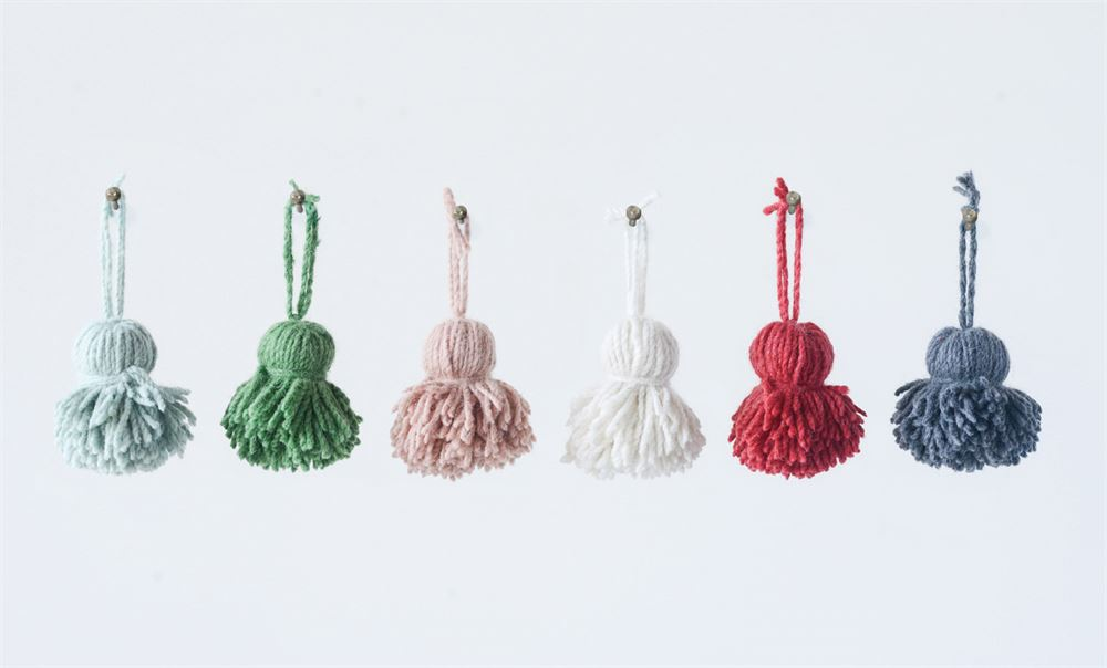 Wool Tassel Napkin Ring/Ornament, 6 Colors