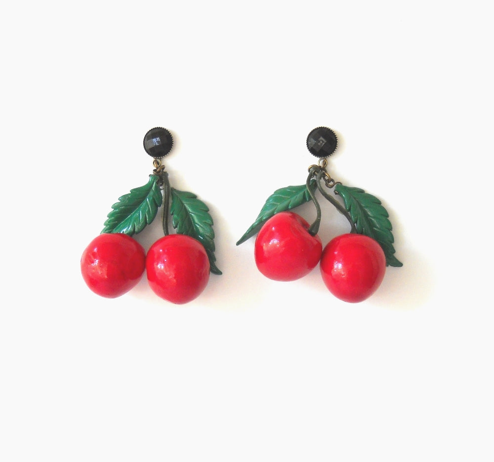 Trendy Large Cherry Earrings