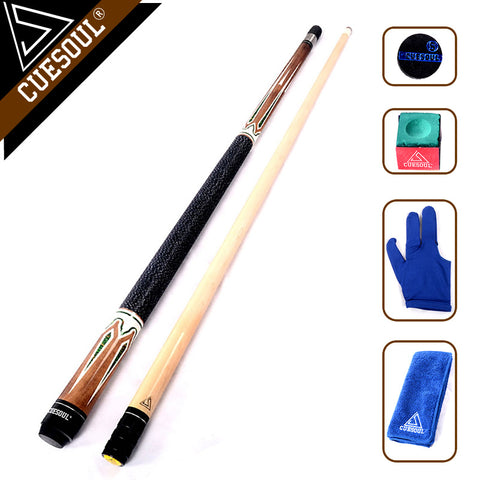"CUESOUL Billiard Pool Cue Stick With 11.5mm/12.75mm Cue Tip Snooker Cue 58"" 19oz With Free Tool"