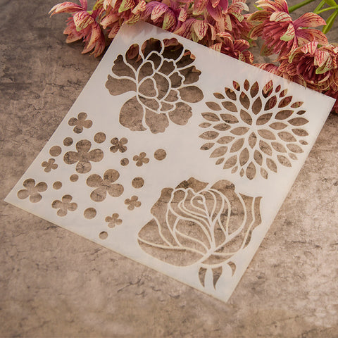 plastic painting drawing spray paint flower design stencil acrylic brush scrapbooking drawing set
