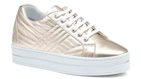 Ladies Platform Leather Trainers