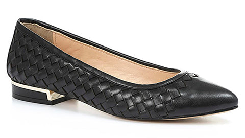 Woven Leather Black Ballet Flat