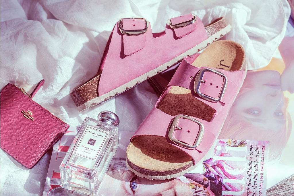 Pink Leather Mule Sandals