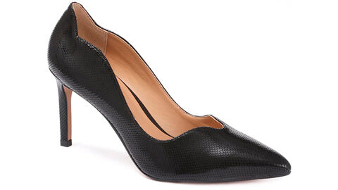 Kate - Black Leather Work Shoes