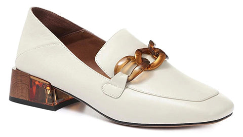 Ladies White Leather Loafer