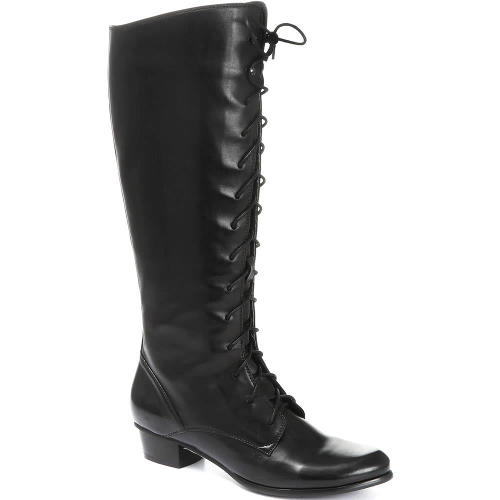 Lace-Up Leather Knee High Boot - SINO30513 / 316 242