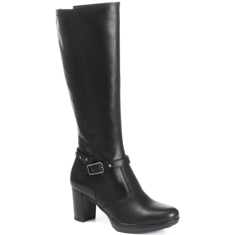 Heeled Leather Knee High Boots - NEROG30502 / 316 451